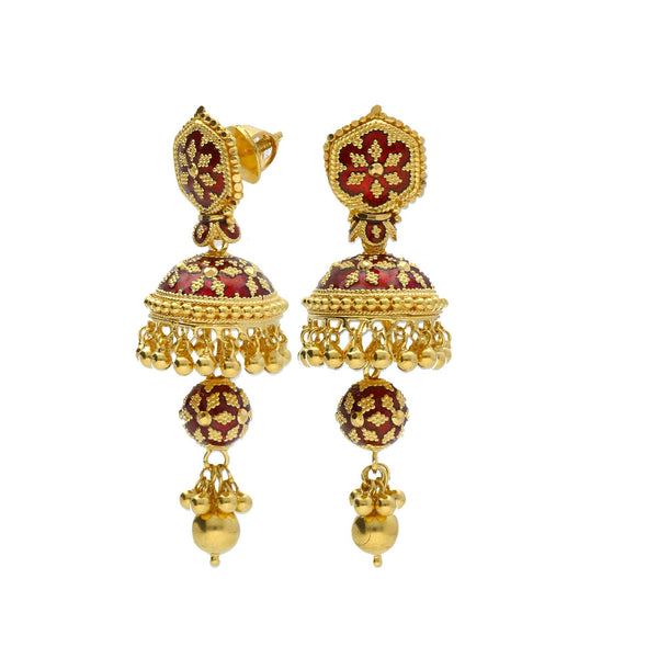An image of the side of a pair of 22K yellow gold earrings with hand-painted red enamel snowflake designs | Add gorgeous 22K yellow gold jewelry to your wardrobe with this Hasdi necklace and Jhumki earring...