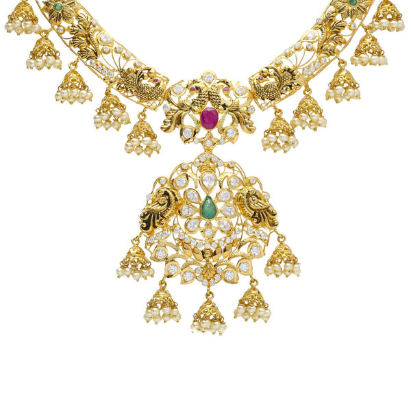 An image of an intricate Indian necklace from Virani Jewelers | Introduce your wardrobe to 22K yellow gold jewelry with this exquisite set from Virani Jewelers! ...