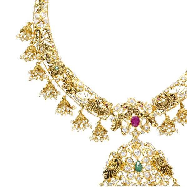 A close-up image of one elegant band on a 22k gold Indian necklace from Virani Jewelers | Introduce your wardrobe to 22K yellow gold jewelry with this exquisite set from Virani Jewelers! ...