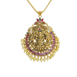 22K Yellow Antique Gold Laxmi Pendant W/ Pearls, Emeralds, Rubies & Peacock Accents