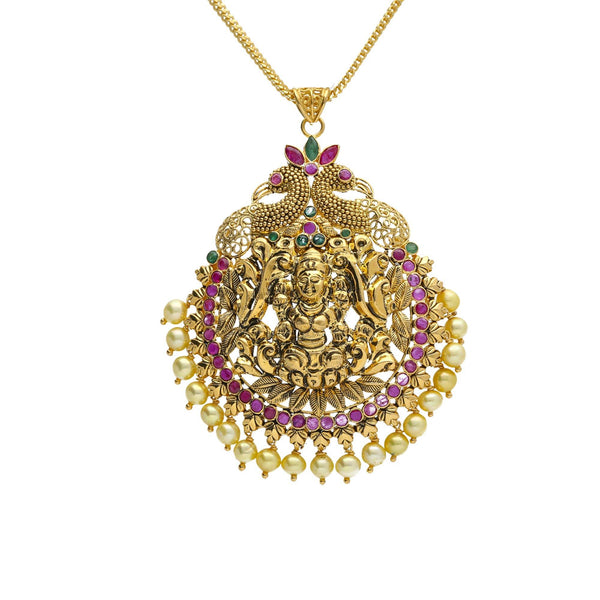 22K Yellow Antique Gold Laxmi Pendant W/ Pearls, Emeralds, Rubies & Peacock Accents |    Be as elaborate and gaudy as you desire with the most exquisite jewelry pieces like this 22K y...
