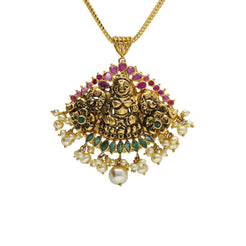 22K Yellow Antique Gold Laxmi Pendant W/ Fanned Display Pearls, Emeralds & Rubies