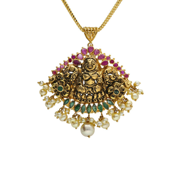 22K Yellow Antique Gold Laxmi Pendant W/ Fanned Display Pearls, Emeralds & Rubies |    You can never go wrong with the ancient allure of antique gold, filled with the depth of textu...
