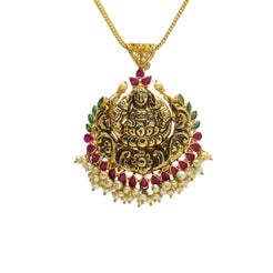 22K Yellow Antique Gold Laxmi Pendant W/ Wreath Pearls, Emeralds & Rubies