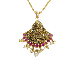 22K Yellow Antique Gold Laxmi Pendant W/ Underlining Rubies & Pearls