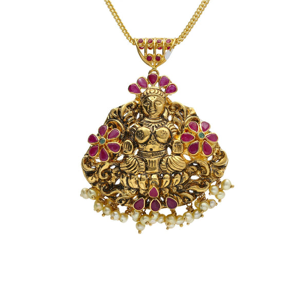 22K Yellow Antique Gold Laxmi Pendant W/ Emeralds, Rubies, Pearls & Flower Accents |    Beautify your simplest 22K gold chains with significant pieces like this 22K yellow antique go...