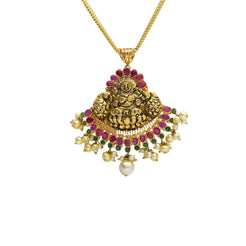22K Yellow Antique Gold Laxmi Pendant W/ Emeralds, Rubies, Pearls & Fanned Design