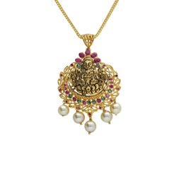 22K Yellow Antique Gold Laxmi Pendant W/ Rubies, Emeralds & Five Drop Pearls