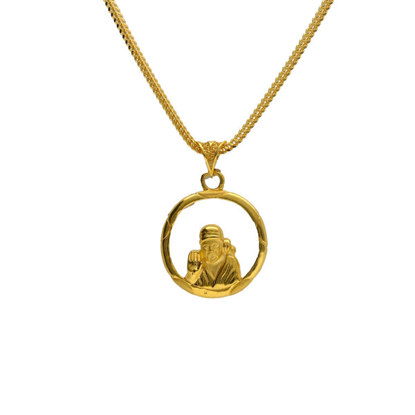 22K Yellow Gold Sai Baba Pendant W/ Open Halo Frame - Virani Jewelers |     Your fine jewelry can have more meaning to you than simply just an accessory to accentuate yo...