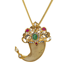 22K Yellow Gold Tiger Nail Pendant W/ Emeralds, Ruby, CZ, Pearls & Fish Accents