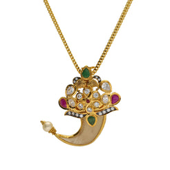 22K Yellow Gold Tiger Nail Pendant W/ Emeralds, Rubies, CZ, Drop Pearl & Floral Design