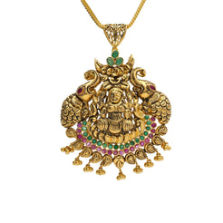 22K Yellow Antique Gold Laxmi Pendant W/ Rubies, Emeralds & Large Elephant Accents