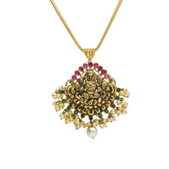 22K Yellow Antique Gold Laxmi Pendant W/ Rubies, Underlining Emeralds & Pearls