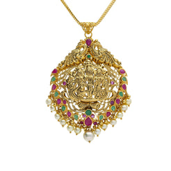 22K Yellow Antique Gold Ram Parivar Pendant W/ Pearls, Emeralds, Rubies & Peacock Accents