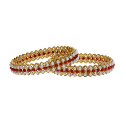 22K Yellow Gold Coral Bangles Set of 2 W/ Precious Pearls