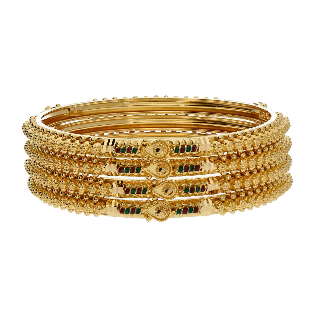 22K Yellow Gold Enamel Bangles Set of 4 W/ Pronounced Beaded Filigree Details |    Choose jewelry designs that have great amounts of texture and color like this set of four 22K ...