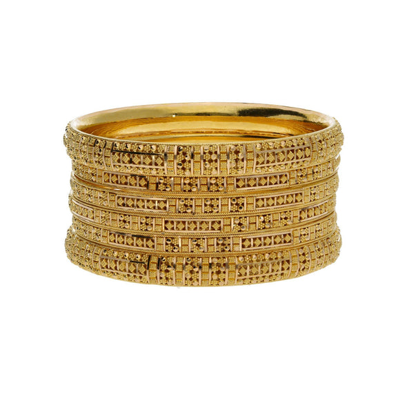 22K Yellow Gold Bangles Mixed Set of 6 W/ Beaded Filigree, Rounded & Flat Bands |    Mix and match various designs and textures to create sleek looks, especially with pieces like ...