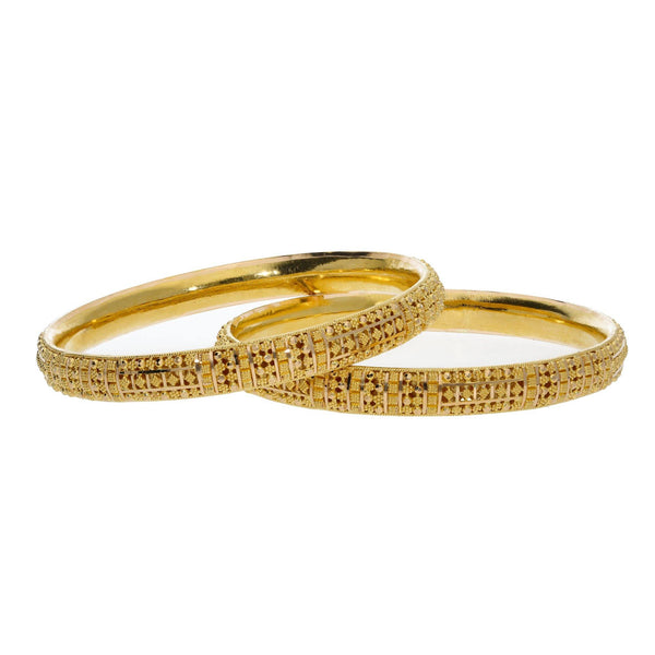 22K Yellow Gold Bangles Set of 2 W/ Rounded Band & Beaded Filigree |    Radiant gold and intricate designs can easily transform any look like this set of two 22K yell...