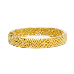 22K Yellow Gold Baby Bangle W/ Filigree & Screw Hinge