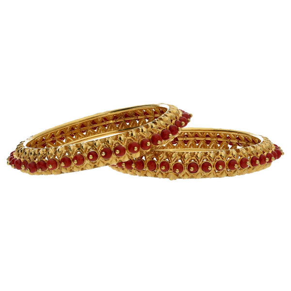 22K Yellow Gold Coral Bangles Set of 2 W/ Wire-Set Red Coral Beads |    Add the raw and natural elements of red coral to your look with this set of two 22K yellow gol...