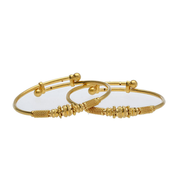 22K Yellow Gold Adjustable Baby Bangles Set of 2 W/ Rope Accents & Heavy Gold Details |    Blend your little one' s special attire with special gold pieces filled with texture and detai...