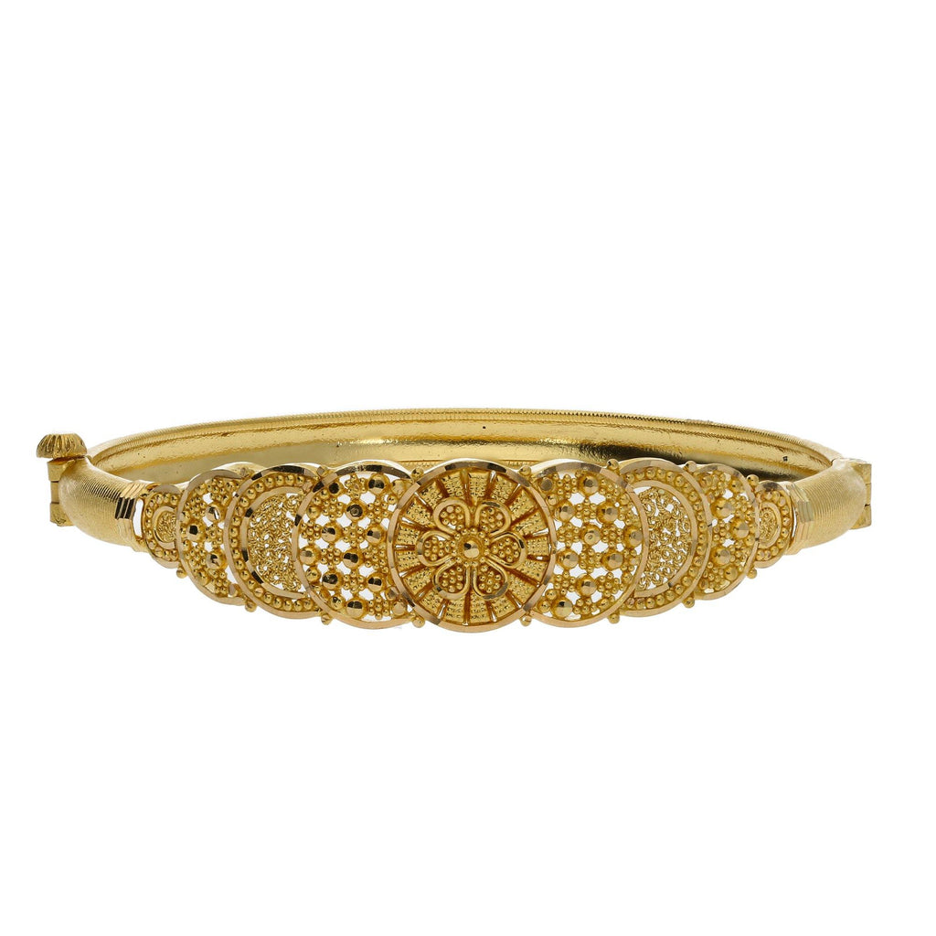 22K Yellow Gold Screw Bangle W/ Beaded Filigree & Overlapping Disc Design - Virani Jewelers |    Allow your radiant 22K yellow gold shine through the beauty of its unique design like this 22K...