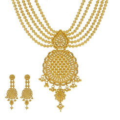 22K Yellow Gold Necklace & Earrings Set W/ Multi Ball Strands & Dream Catcher Pendants