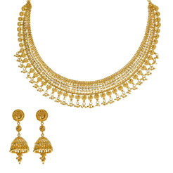 22K Yellow Gold Necklace & Jhumki Earrings Set W/ Egyptian Collar & Seashell Accents