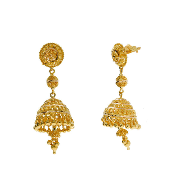 An image of the Jhumki Indian gold earrings from Virani Jewelers. | Explore new designs like this exquisite 22K gold necklace set from Virani Jewelers!  Crafted with...