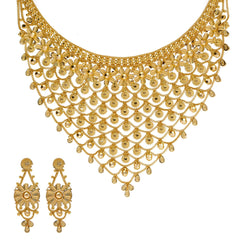 22K Yellow Gold Necklace & Earrings Set W/ Floral Chainmail Design