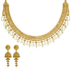 22K Yellow Gold Necklace & Jhumki Earrings Set W/ Beaded Filigree & Chandelier Egyptian Collar