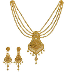 22K Yellow Gold Necklace & Earrings Set W/ Scallop Pendants & Multi Ball Strands