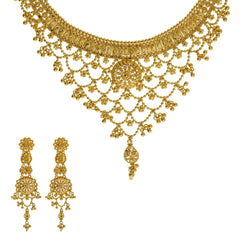 22K Yellow Gold Necklace & Earrings Set W/ Dream Catcher Earrings & Grape Vine Display