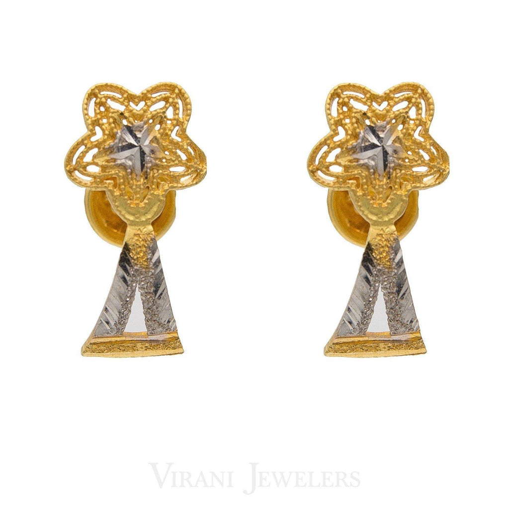 22K Yellow & White Gold Stud Earrings W/ Floral & Triangle Fused Shape | 22k Two-Tone Gold Earrings in a contemporary, modern style.