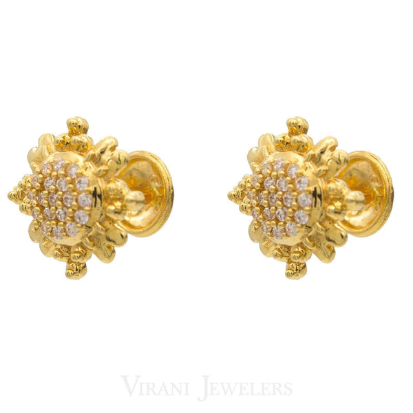 22K Yellow Gold Celestial Stud Earrings Set W/ Cubic Zirconia Stones | 22K Yellow Gold Celestial Stud Earrings Set W/ Cubic Zirconia Stones for women. Celestial inspire...