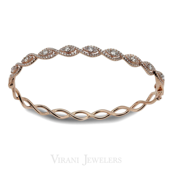 1.04CT Intertwining Diamond Bangle Set in 14K Rose Gold W/ Open Up Hinge (DDH0950) | 1.04CT Intertwining Diamond Bangle Set in 14K Rose Gold W/ Open Up Hinge for women. Bangle size i...