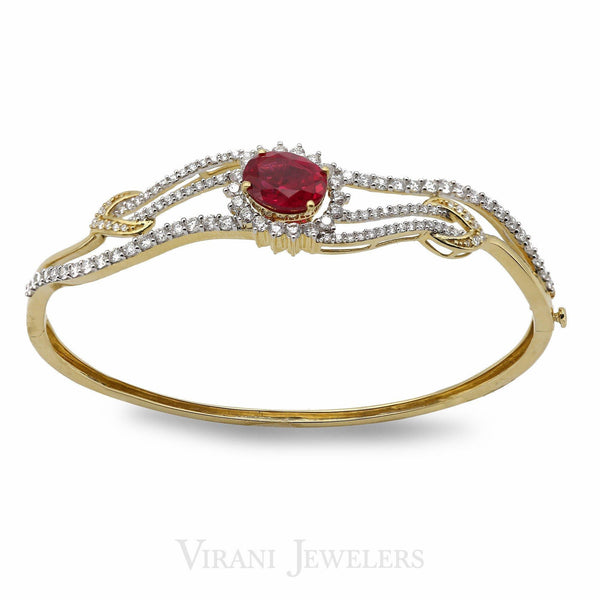 1.43CT Diamond Bangle Set in 18K Yellow Gold W/ Oval Cut Ruby Stone | 1.43CT Diamond Bangle Set in 18K Yellow Gold W/ Oval Cut Ruby Stone for women. Bracelet size is 2...