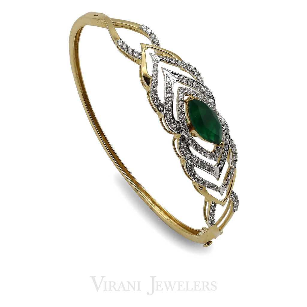 0.85CT Diamond Bangle Set in 18K Gold W/ Marquis Cut Emerald Stone | 0.85CT Diamond Bangle Set in 18K Yellow Gold W/ Marquis Cut Emerald Stone for women. Bracelet siz...