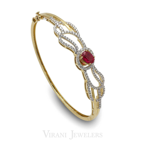 0.9CT Diamond Bangle Set in 18K Yellow Gold W/ Emerald Cut Ruby Stone | 0.9CT Diamond Bangle Set in 18K Yellow Gold W/ Emerald Cut Ruby Stone for women. Stunning bangle ...