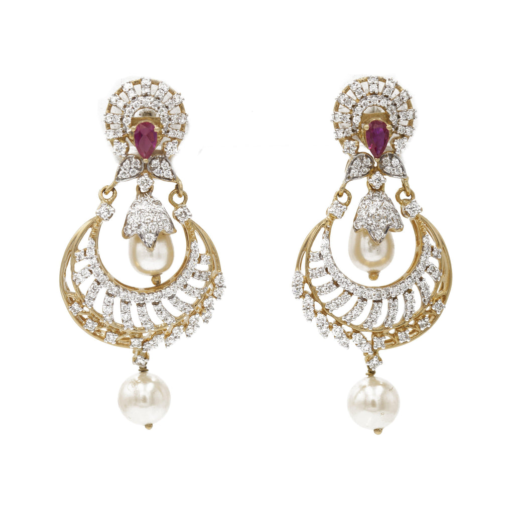 1.75 ct Diamond drop earrings in 18k Yellow Gold with Ruby stones and Pearls | 1.75 ct Diamond drop earrings in 18k Yellow Gold with Ruby stones and Pearls for Women. The Chand...