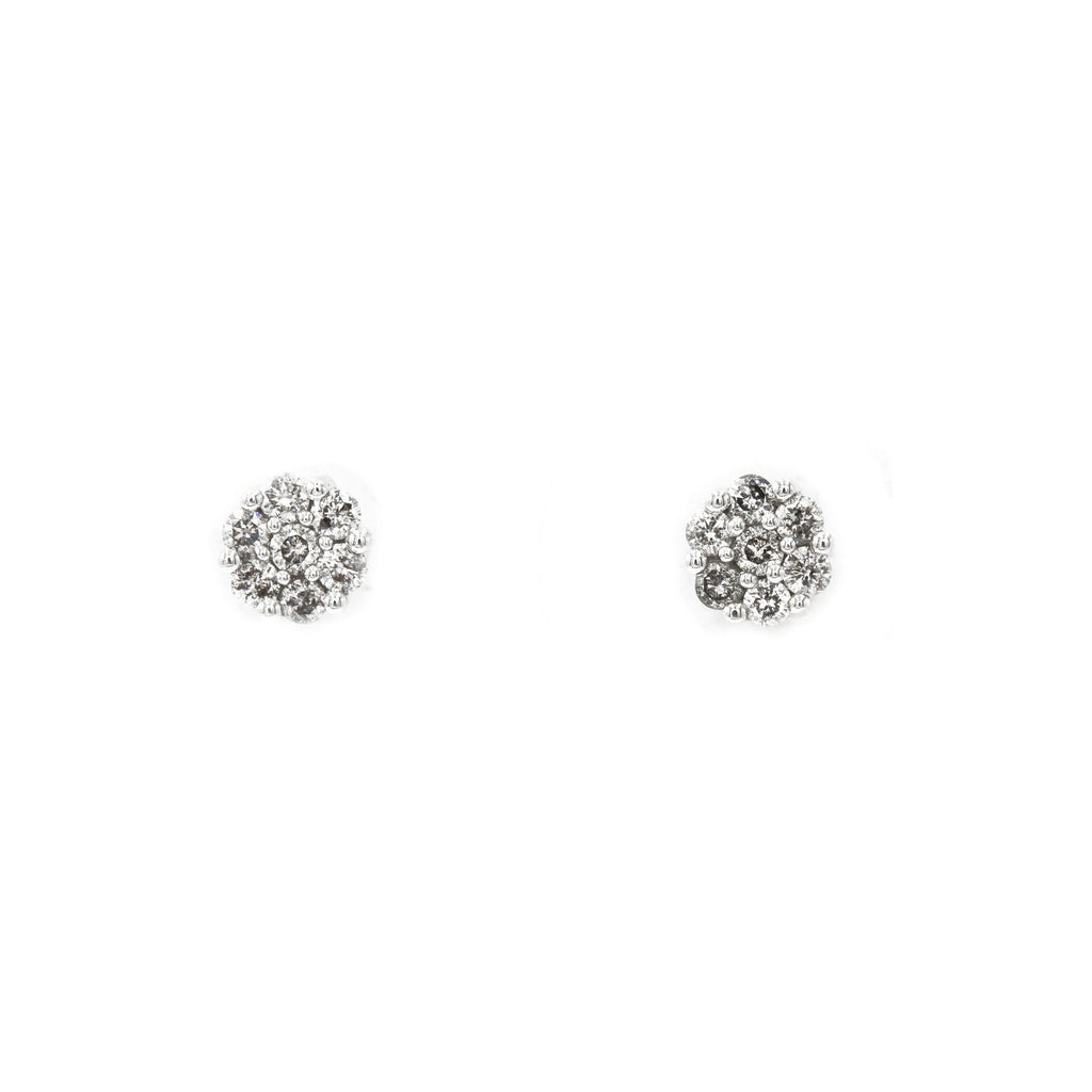 0.5 ct Diamond Cluster Earrings in 14k White Gold |