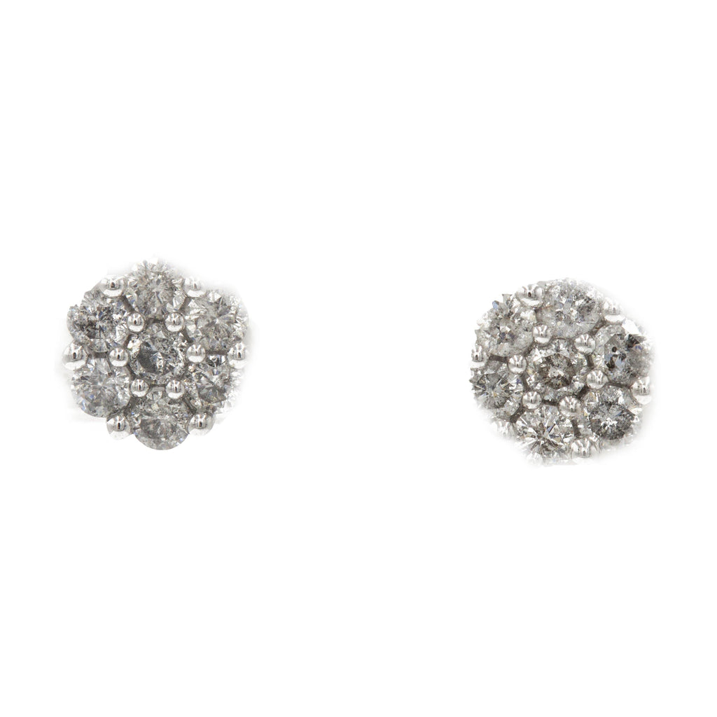 1 ct Diamond Cluster Earrings in 14k white gold | 1 ct Diamond Cluster Earrings in 14k white gold for women. Total weight is 1.1 grams.