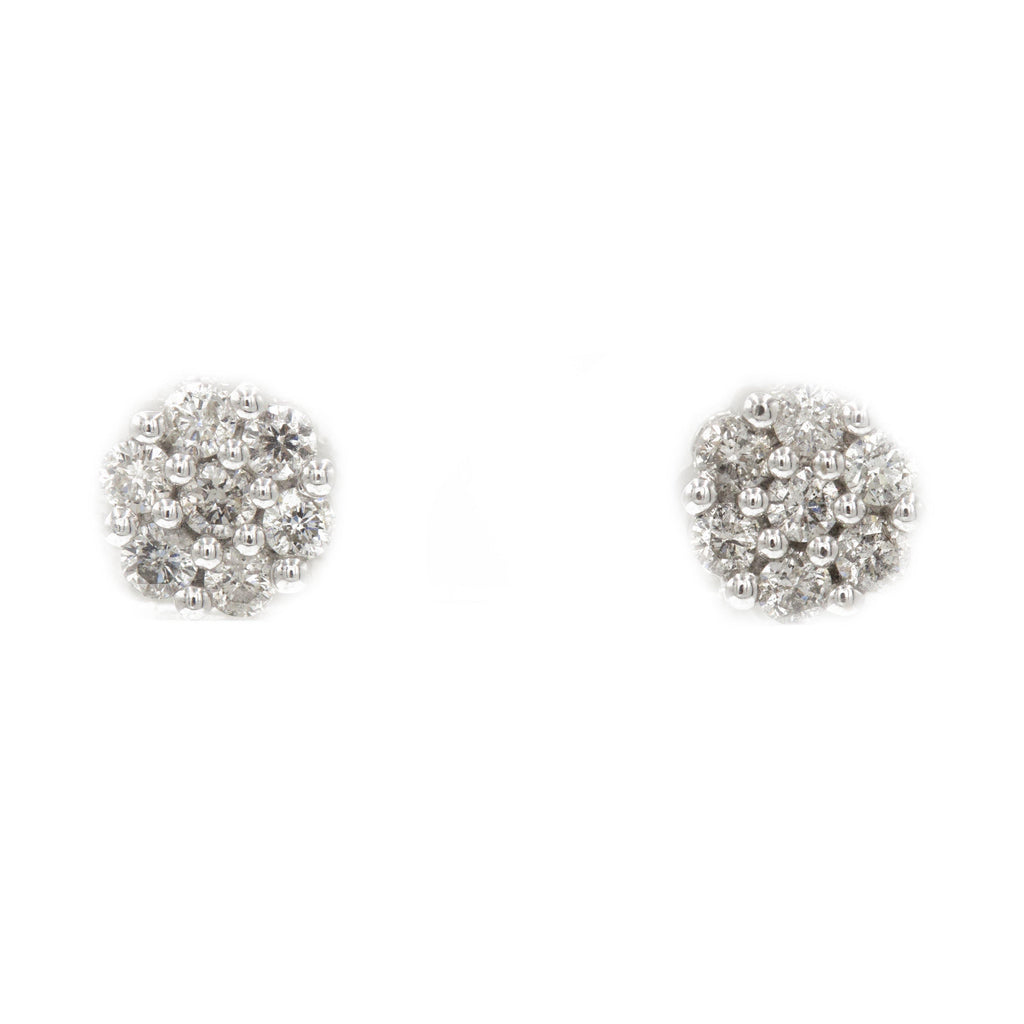 0.75 ct Diamond Cluster Earrings in 14k White Gold | 0.75 ct Diamond Cluster Earrings in 14k white gold for women. total weight is 2.5 grams