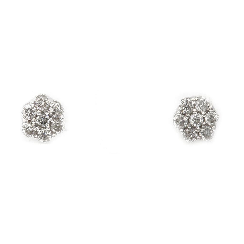 0.25 ct Diamond Cluster earrings in 14k White Gold with Screw back - Virani Jewelers | 0.25 ct Diamond Cluster earrings in 14k white gold with screw back for women. Total weight is 1.5...