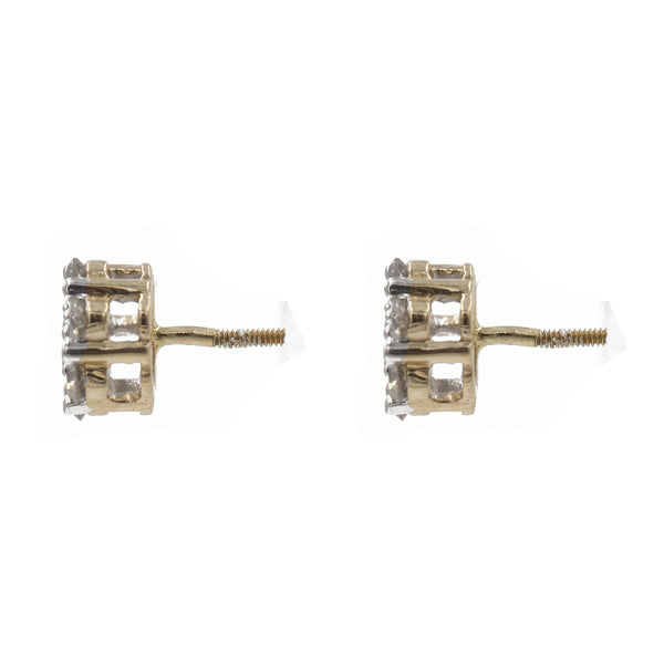 1 ct. Diamond Cluster Earrings in 14k Yellow Gold | 1 ct. Diamond Cluster earrings in 14k yellow gold for Women. Total weight is 2.2 grams