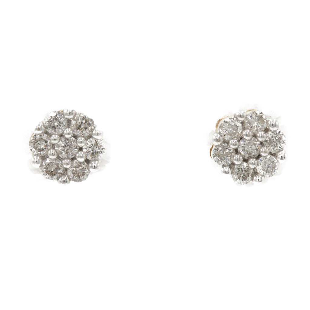 0.75 ct Diamond Cluster Earrings in 14k Yellow Gold | 0.75 ct Diamond Cluster Earrings in 14k yellow gold for women. Total weight is 2.5 grams.