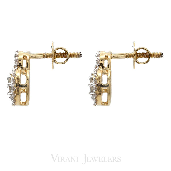 18K Multitone Gold Diamond Earrings |
