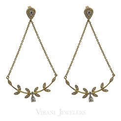 Minimalist 0.3 CT Diamond Drop Earrings Set in 18K Yellow Gold W/ Leaf Shaped Accents