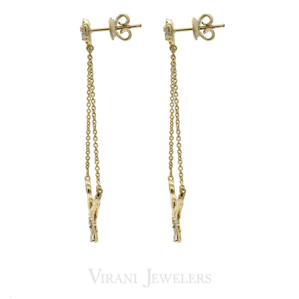 Minimalist 0.3 CT Diamond Drop Earrings Set in 18K Yellow Gold W/ Leaf Shaped Accents |  0.3 CT Diamond Drop Earrings Set in 18K Yellow Gold W/ Leaf Shaped Accents for women. Gold weigh...