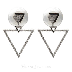 Minimalist 0.3 CT Diamond Triangle Drop Earrings Set In 18K White Gold